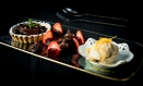 fruit tart with liquorice ice cream