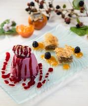 Wild Blackberry Panna Cotta and Baklava Dessert.