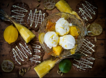 Citrus, coconut and pineapple dessert.